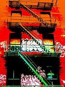 Manhattan Digital Art Posters - Manhattan Fire Escape Poster by Funkpix Photo  Hunter