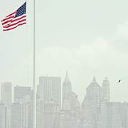 American Flag Manhattan Framed Prints - Manhattan Framed Print by Image - Natasha Maiolo