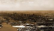 Manhattan Greeting Cards - Manhattan in Sepia by Heather S Huston