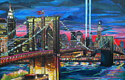 Brooklyn Bridge Painting Posters - Manhattan Kinda Night Poster by Patti Schermerhorn