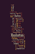Text Framed Prints - Manhattan New York Typographic Map Framed Print by Michael Tompsett