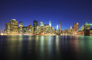 New York Buildings Prints - Manhattan Nite Lites NYC Print by Yhun Suarez