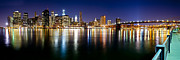 Skyline Prints Prints - Manhattan Skyline - Southside Print by Shane Psaltis