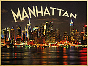 Nyc Digital Art Posters - Manhattan Skyline At Night Poster by Vintage Poster Designs