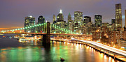 Long Exposure Metal Prints - Manhattan Skyline Metal Print by Sean Pavone