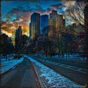 Warner Park Digital Art Posters - Manhattan Sunset Poster by Chris Lord