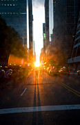 Olia Saunders Metal Prints - Manhattanhenge New York 2 Metal Print by Design Remix