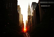 Skylines Posters - Manhattanhenge Sunset Over the Heart of New York City Poster by Vivienne Gucwa