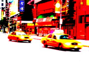Pix Framed Prints - Manhattans Times Square Cabs Framed Print by Funkpix Photo Hunter