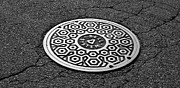 Black Top Acrylic Prints - Manhole Cover Acrylic Print by Luke Moore