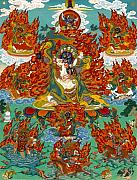 Thangka Framed Prints - Maning Mahakala with Retinue Framed Print by Sergey Noskov