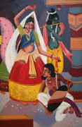 Bright Prints Painting Originals - Manipuri Dancers by Vidyut Singhal