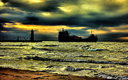 Lake Michigan Photos - Manistee Lighthouse with Freighter by Matthew Winn