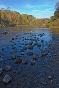 Fly Fishing Art Print Posters - Manistee River in Fall Poster by Twenty Two North Photography