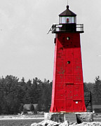 J.p. Prints - Manistique East Breakwater Light with Selective Color Print by Mark J Seefeldt