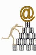 Can Prints - Mannequin climbing tin cans pyramid Print by Sami Sarkis