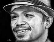 Boxer Drawings Framed Prints - Manny Pacquiao Framed Print by Carl Moore