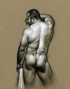 Male Nude Drawings - Manolo by Chris  Lopez