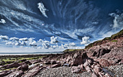 Steve Purnell Photo Metal Prints - Manorbier Rocks Big Sky Metal Print by Steve Purnell