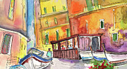 Townscapes Drawings - Manorola in Italy 04 by Miki De Goodaboom