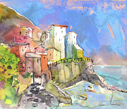 Italy Drawings Framed Prints - Manorola in Italy 05 Framed Print by Miki De Goodaboom