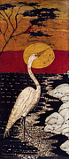 California Watercolor Artists Tapestries - Textiles - Manos Egret by Alexandra  Sanders
