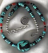 Fetishes Jewelry - Mans Turquoise Heshi Regalia necklace by White Buffalo