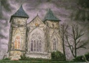 Haunted House Pastels - Mansion by Christopher Halfacree