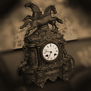Horse Digital Art Prints - Mantel Clock Print by Mike McGlothlen