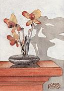 Ken Prints - Mantel Flowers Print by Ken Powers