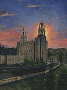 Church Paintings - Manti Sunrise by Jeff Brimley