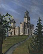 Lds Posters - Manti Temple East Doors Poster by Jeff Brimley