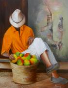 Mangoes Framed Prints - Manuel the Fruit Vendor Resting Framed Print by Dominica Alcantara