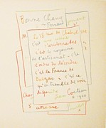 Jean Cocteau Art - Manuscrit by Jean Cocteau