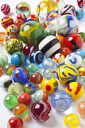 Plaything Metal Prints - Many beautiful marbles Metal Print by Garry Gay