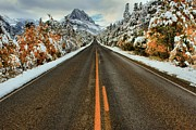 Snowy Roads Art - Many Glacier Road by Adam Jewell