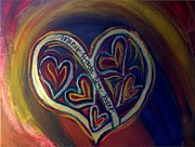 Sacrificial Painting Posters - Many Hearts One Beat - Blue Poster by Kathryn Bonner