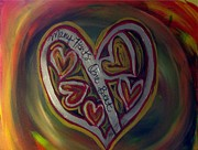 Sacrificial Painting Posters - MANY HEARTS ONE BEAT - Red  Poster by Kathryn Bonner