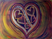 Sacrificial Painting Posters - MANY HEARTS ONE BEAT - Yellow Poster by Kathryn Bonner