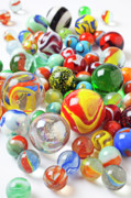 Round Photo Prints - Many marbles  Print by Garry Gay