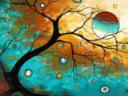 Upbeat Painting Posters - Many Moons Ago by MADART Poster by Megan Duncanson