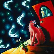 Power Paintings - Many Moons Passed with the Wolf at My Door by Angela Treat Lyon