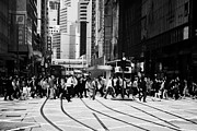 Businesspeople Prints - Many People Pedestrian Crossing Street Road In Busy Downtown Hong Kong Hksar China Asia Print by Joe Fox