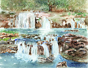Watercolor Landscapes Posters - Many Waterfalls Poster by Arline Wagner