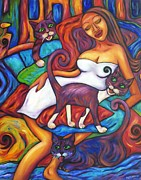Maori Girl And Three Cats Print by Dianne  Connolly