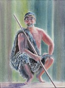 Fighter Pastels - Maori Warrior by Shirley Leswick