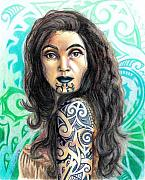 Prismacolor Colored Pencil Drawings Prints - Maori Woman Print by Scarlett Royal