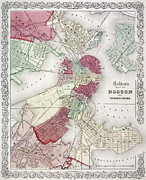 Suburb Posters - Map: Boston, 1865 Poster by Granger