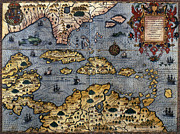 Sea Monster Framed Prints - MAP: CARIBBEAN, c1591 Framed Print by Granger