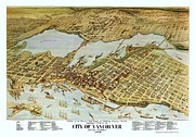 British Columbia Mixed Media Prints - Map City of Vancouver Print by Pg Reproductions